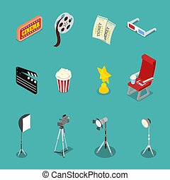 Isometric Cinema Icons with Film Reel, Glasses and Movie Making Equipment. Vector flat 3d illustration