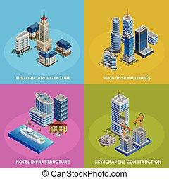 Isometric City 2x2 Icons Set