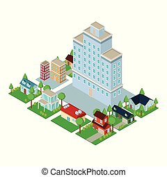 Isometric city 3d