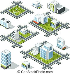 Isometric city 3d vector illustration with office buildings,...