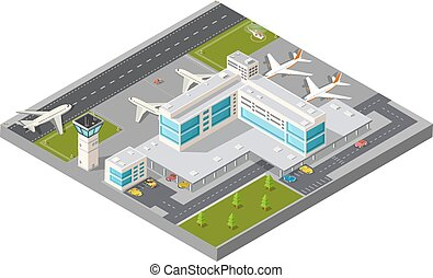 Isometric city airport - Isometric map of the city airport,...