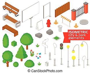 Isometric city and park elements set.