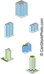 A vector illustrations pack of isometric tall city apartment buildings which are compatible with each other in grid perspective and size