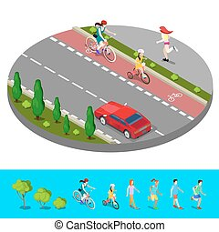 Isometric City. Bike Path with Bicyclist. Footpath with Running Woman. Vector illustration