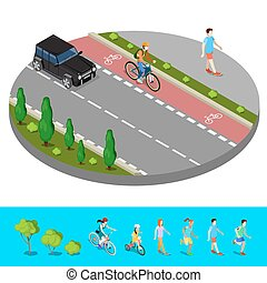 Isometric City. Bike Path with Bicyclist. Footpath with...