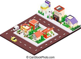Isometric City Block Composition