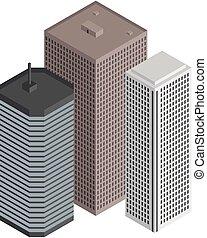 Isometric city buildings