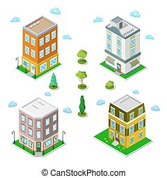 Isometric City Buildings Set. Modern Houses. Vector illustration