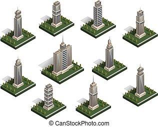 Isometric city buildings vector set.