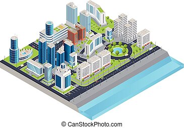 Isometric City Composition