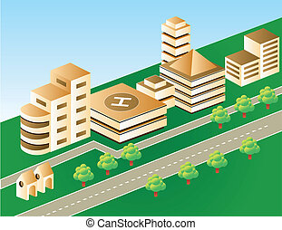 Isometric city in brown color