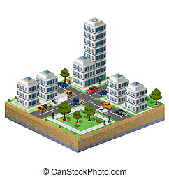 Isometric city - Isometric image of a fragment of the city...