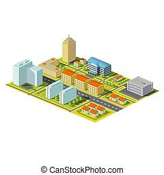 isometric, city., liggen, illustration.