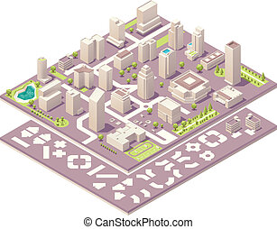 Isometric set of the simplified buildings, road elements and plants for map creation