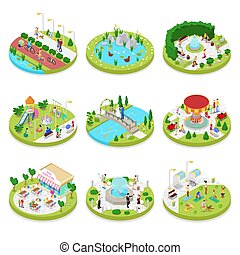 Isometric City Park Composition with Walking People. Outdoor Activity. Family on the Walk. Vector flat 3d illustration