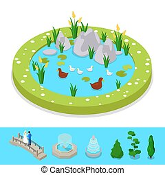 Isometric City Park Composition with Water Pond and Ducks. Vector flat 3d illustration