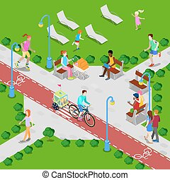 Isometric City Park with Bicycle Path. Active People Walking in Park. Vector illustration