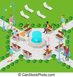 Isometric City Park with Fountain. Active People Walking in Park. Vector illustration