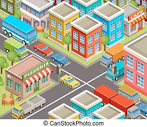 isometric, city.