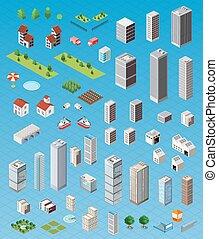 Isometric city set - Isometric city map road, trees and...