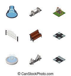 Isometric City Set Of Park Decoration, Highway, Intersection And Other Vector Objects. Also Includes Suspension, Bench, Waterfall Elements.