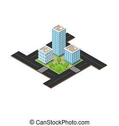 Isometric city square