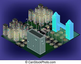 Isometric city streets with buildings, lights, traffic lights, cars