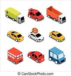 Isometric City Transport Vector Illustration Set