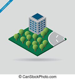 isometric city - trees. building and road