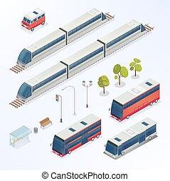 Isometric City. Urban Elements. Isometric Bus. Isometric Train. City Transportation. Vector illustration