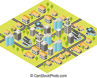 Isometric city with downtown and suburbs, buildings and ...