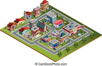 isometric Cityscape Illustration - Isometric cityscape with...