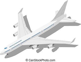 isometric, civil, isolado, ilustração, experiência., aeronave, vetorial, branca