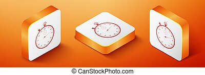 Isometric Classic stopwatch icon isolated on orange background. Timer icon. Chronometer sign. Orange square button. Vector