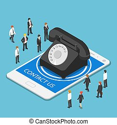Isometric classic telephone on tablet PC with contact us text