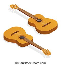Isometric Classical acoustic guitar