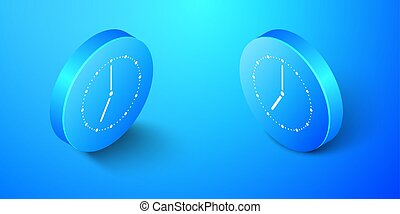 Isometric Clock icon isolated on blue background. Time symbol. Blue circle button. Vector