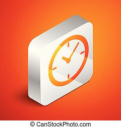Isometric Clock icon isolated on orange background. Silver square button. Vector Illustration