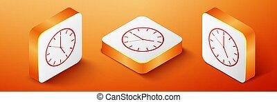 Isometric Clock icon isolated on orange background. Time symbol. Orange square button. Vector