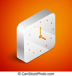 Isometric Clock icon isolated on orange background. Time symbol. Silver square button. Vector