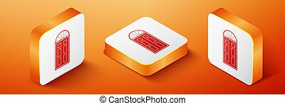 Isometric Closed door icon isolated on orange background. Orange square button. Vector