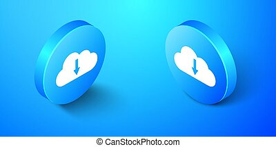 Isometric Cloud download icon isolated on blue background. Blue circle button. Vector