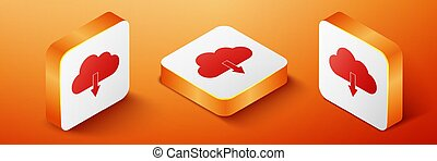 Isometric Cloud download icon isolated on orange background. Orange square button. Vector