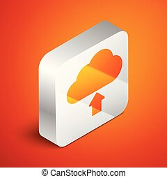Isometric Cloud download icon isolated on orange background. Silver square button. Vector Illustration