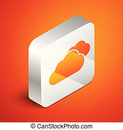 Isometric Cloud icon isolated on orange background. Silver square button. Vector Illustration