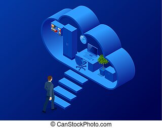 Isometric cloud office with people concept. Web banner for...