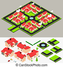 Isometric Cluster House Collection - A Vector Illustration...