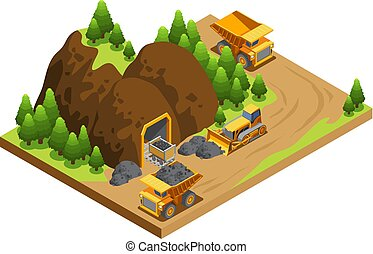 Isometric Coal Extraction Industry Template