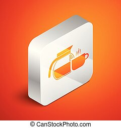Isometric Coffee pot with cup icon isolated on orange background. Silver square button. Vector Illustration