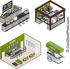 Isometric Coffee Shops Set